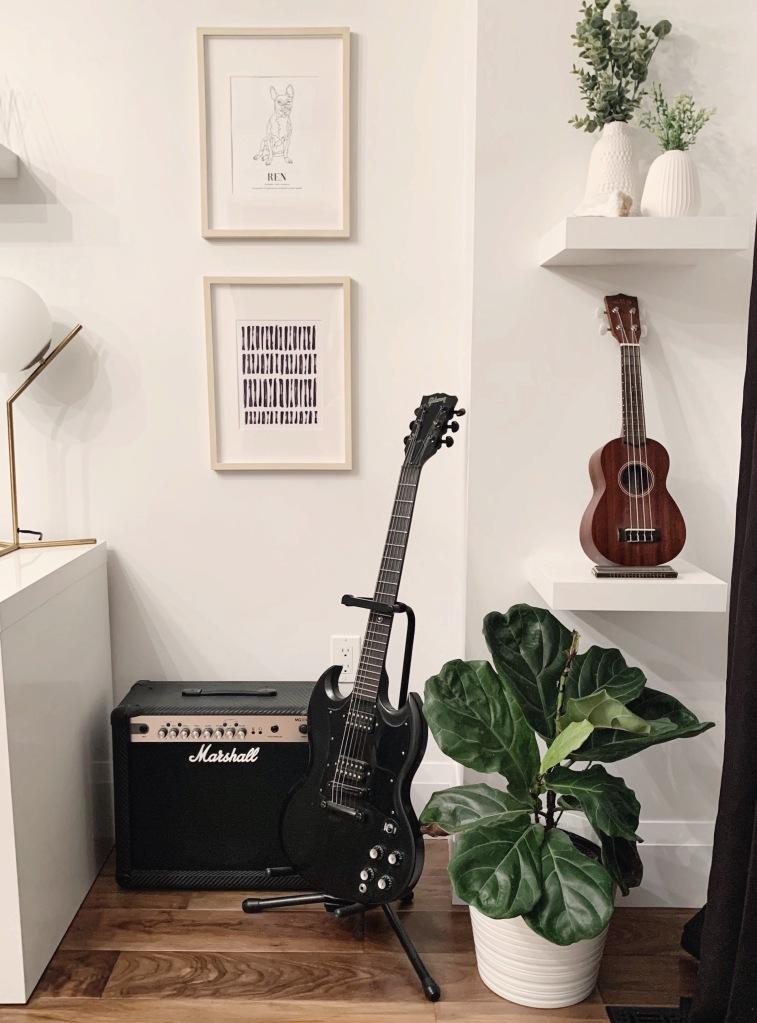 boho scandinavian minimal home office music room