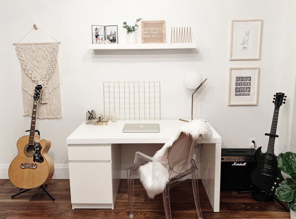 boho scandinavian minimal home office music room blogger office