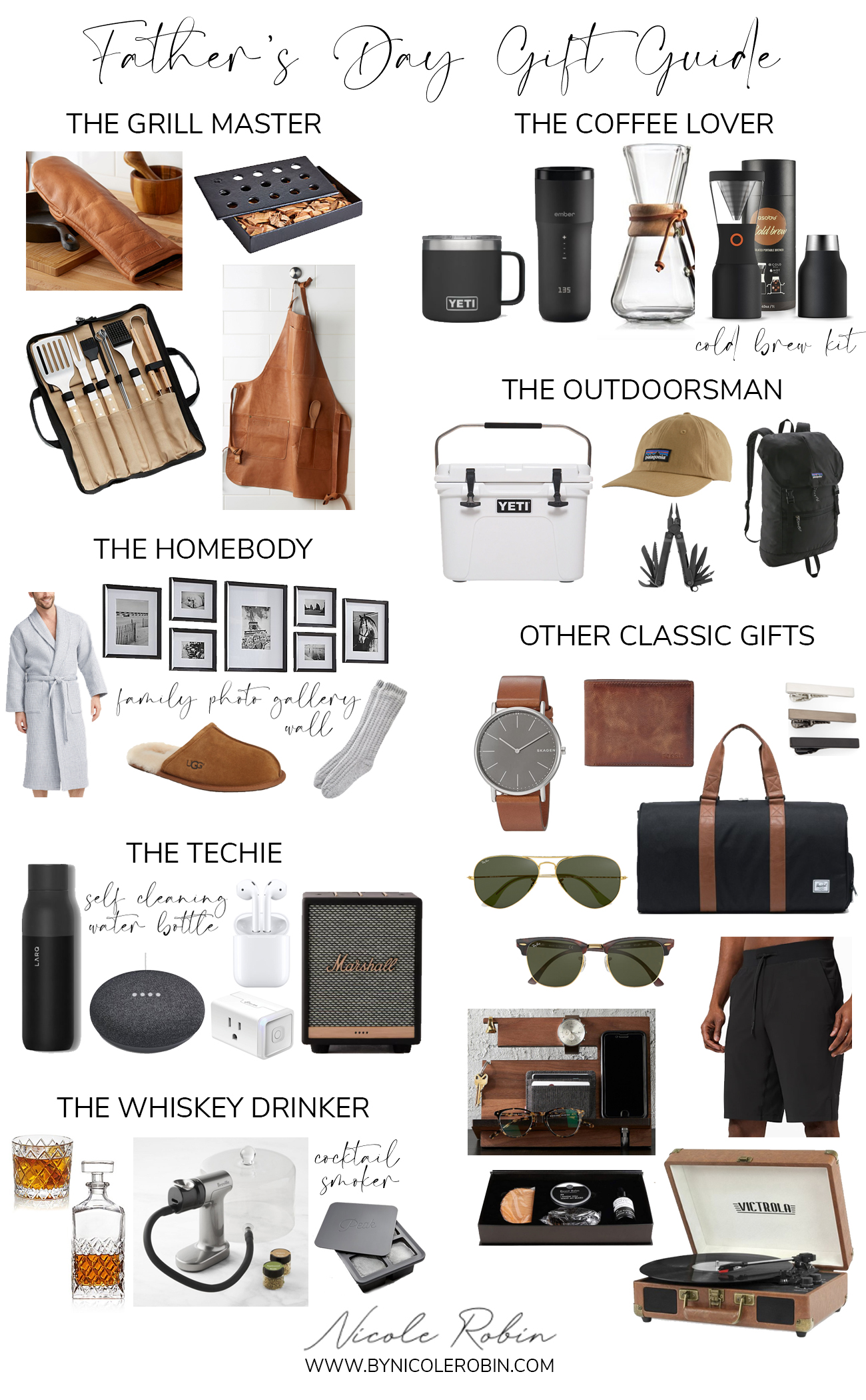 Fathers Day Gift Guide. What To Get for Fathers Day 2020. Gifts for The Dad who has everything. Fathers Day Gift Guide for Every Type of Dad. Gifts for the grill master, the coffee lover, the homebody, the outdoorsman, the techie, the whiskey drinker and other classic father's day gifts.