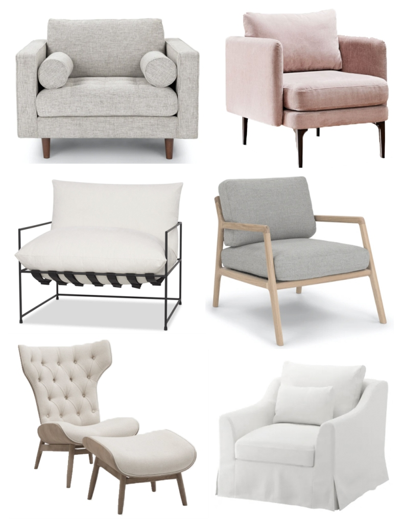 Six perfectly neutral armchairs lounge chairs accent chairs for sunday lounging from Article, IKEA, Structube, Urban barn and West Elm