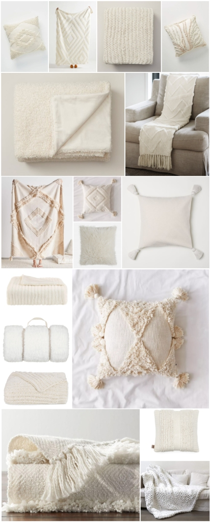 Throws and Pillows to Transition from Late Summer to Fall - Cozy White & Textured Blankets and Cushions